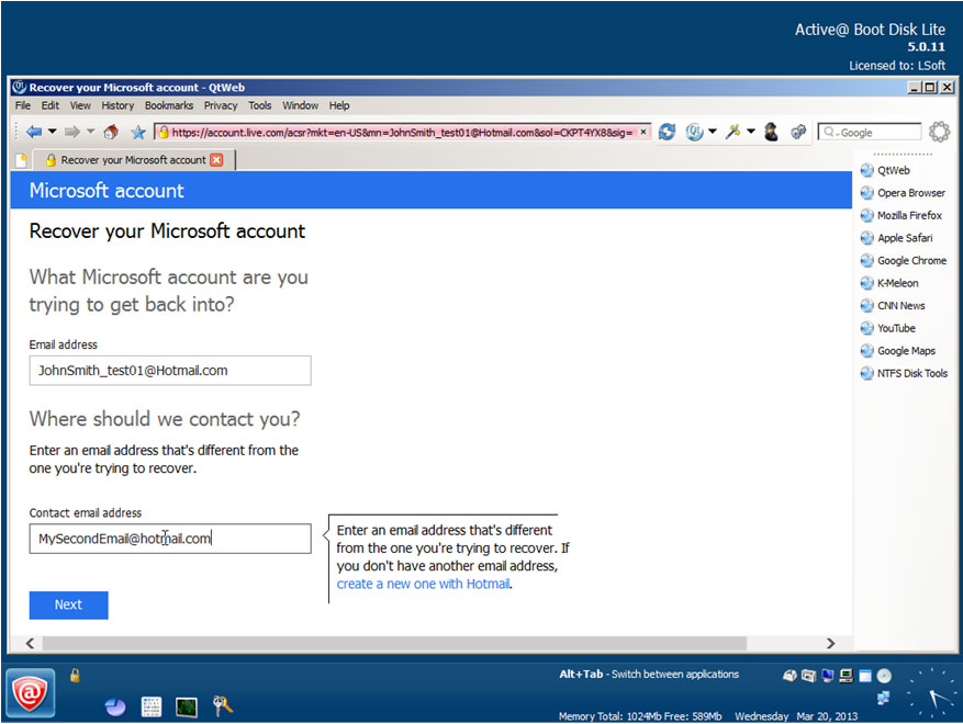 Password changer windows 8: Select the method for resetting the password
